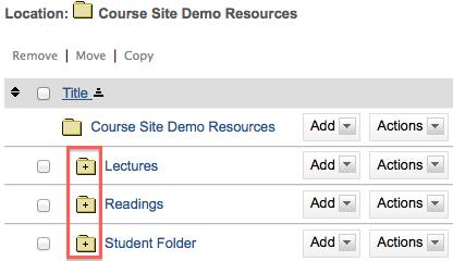open folder icons in Sakai resources