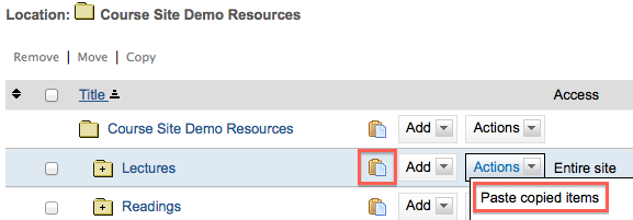 paste copied items in Sakai resources