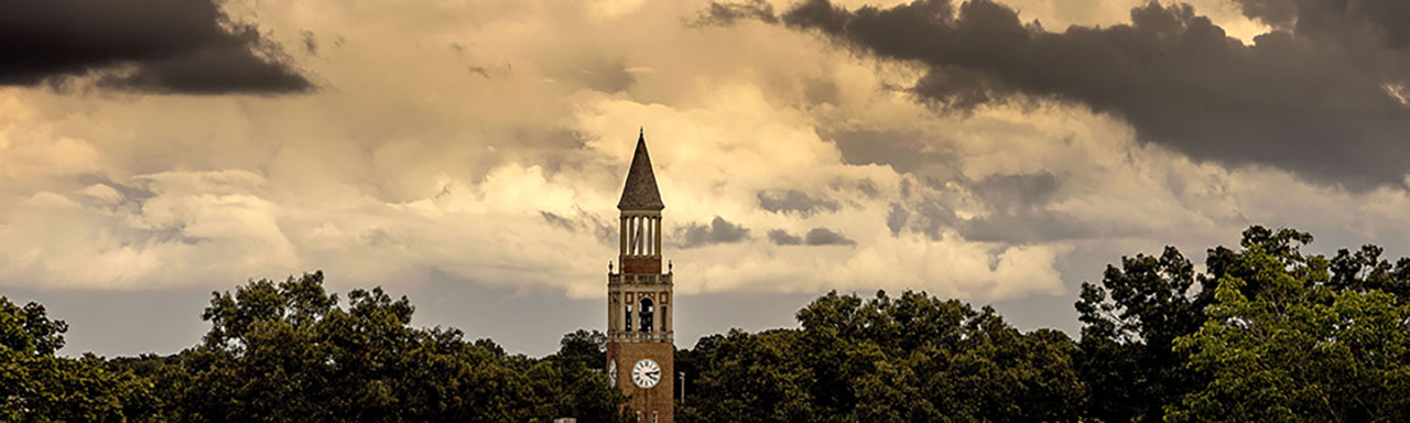 cloudy evening view of bell tower