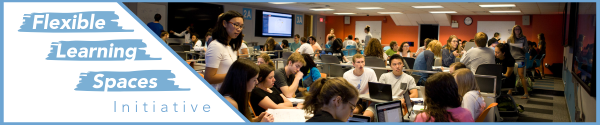flexible learning initiatives banner with instructor and several students interacting in Greenlaw Hall 101