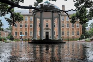 Carolina Old Well and person with blue umbrella on a rainy day