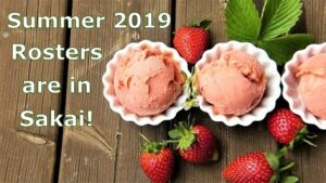 Summer 2019 rosters are in Sakai announcement next to strawberry ice cream and fruit
