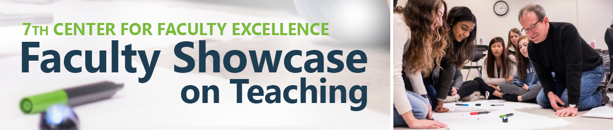 7th center for faculty excellence faculty showcase banner with instructor and students working with large sheets of paper and markers on the ground