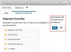 organize favorite Sakai site tabs window with auto-favorite toggle on
