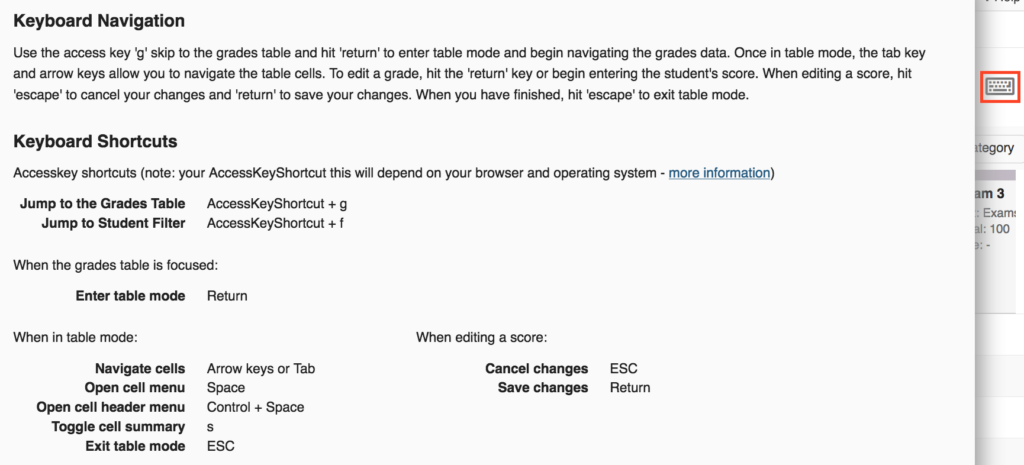 Sakai keyboard navigation and shortcuts listed in section below