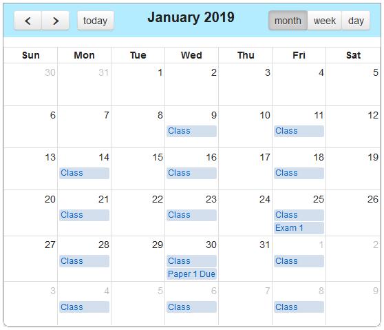 embedded calendar in Sakai Lessons
