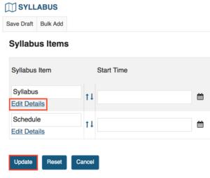 edit Sakai syllabus details link