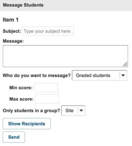 composed message to send to students through Sakai Gradebook item