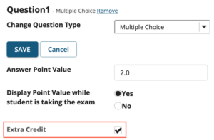 Sakai test question checked as extra credit