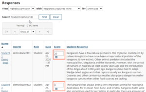student responses graded with rubric in Sakai Tests & Quizzes