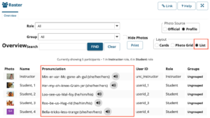 Sakai Roster shows name pronunciation, pronoun, and audio of site members