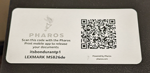 Pharos Print QR scan code on CCI Printer
