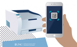 phone with scan code in hand to submit touchless print job