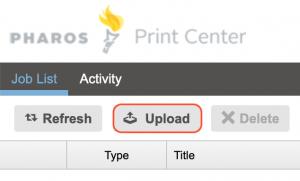 Upload button in Pharos Print Center