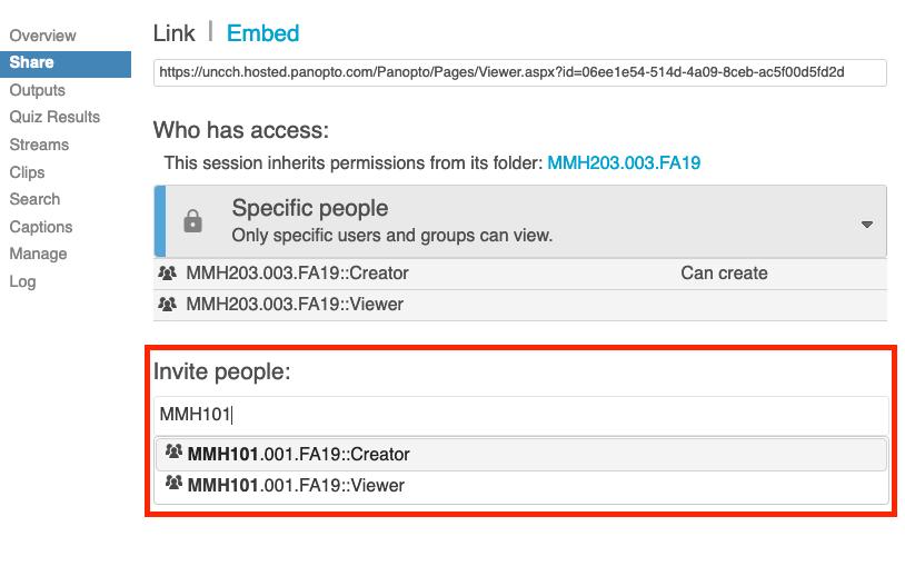 screenshot of panopto selection screen 3