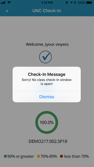 A screenshot from the Check-In App on an iOS device with an alert box stating Sorry! No class check-in window is open.