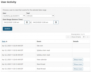 Sakai Statistics user activity report shows specific events with dates and time stamps