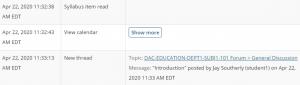 Sakai Statistics user activity report shows specific forum details on event