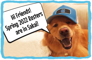 happy dog in carolina hat announces spring 2022 rosters are in Sakai